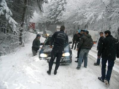 Circulatie in conditii de iarna in Maramures
