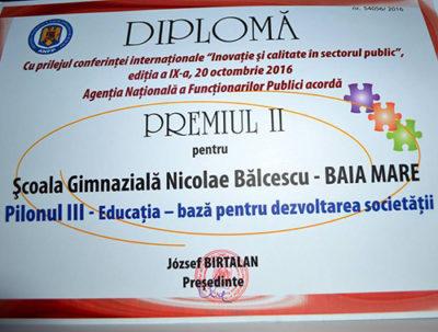 """Şcoala """"Bălcescu"""" – locul II în Competiţia celor mai bune practici din administraţie"""