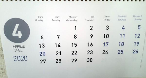 calendar aprilie